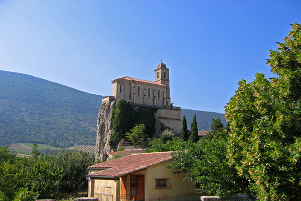 The Drome region in France - church on mountain