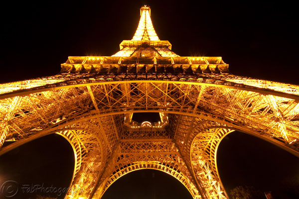 Eiffel Tower Lit Up Below