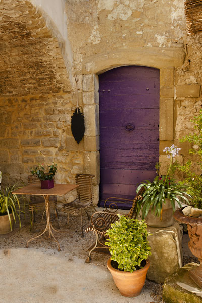 purple patio door
