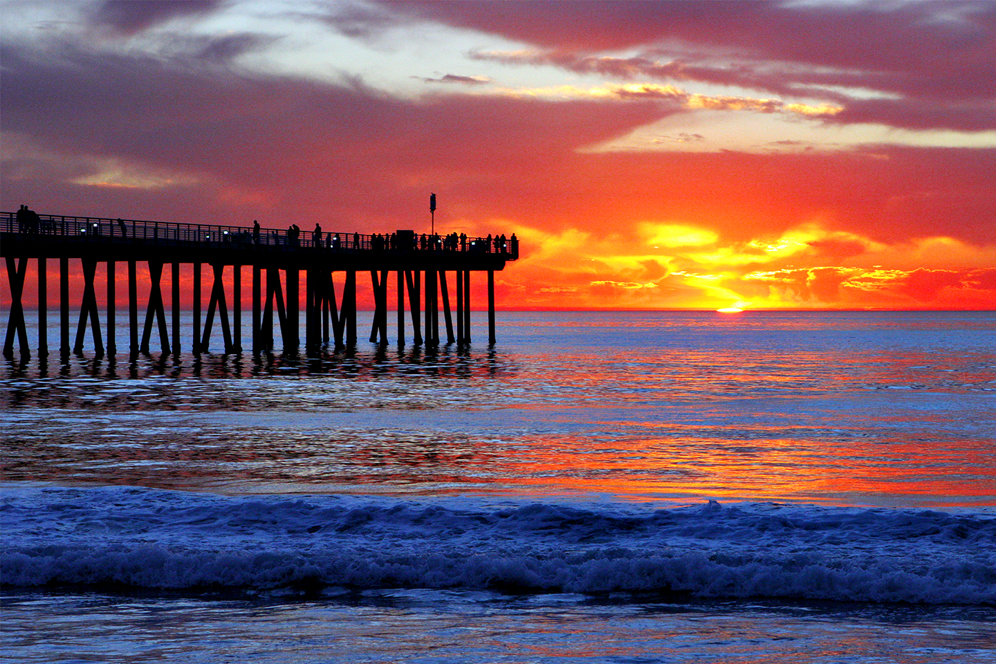 Red sky over Hermosa Beach pier