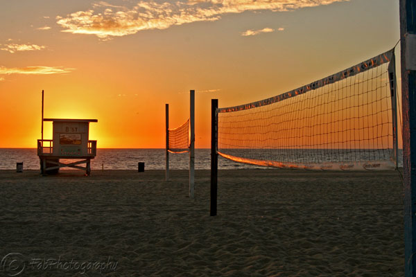 Golden volleyball nets in Hermosa Beach, CA